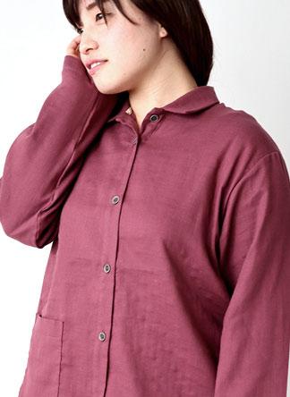 ダブルガーゼレディースパジャマ・長袖/前開き/襟あり