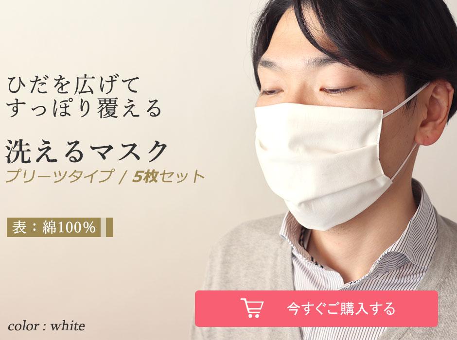 ひだを広げてすっぽり覆える洗えるマスク綿100% プリーツタイプ5枚セット