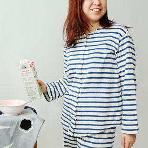 ボーダーニット襟なしパジャマ