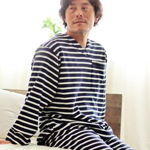 ボーダーニットVネックパジャマ