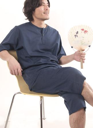半袖短パン夏のガーゼパジャマメンズ