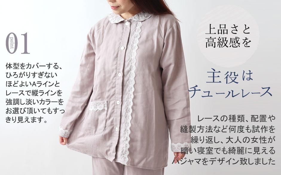 レースの種類、配置や縫製方法など何度も試作を繰り返し、大人の女性が暗い寝室でも綺麗にみえるパジャマをデザイン致しました