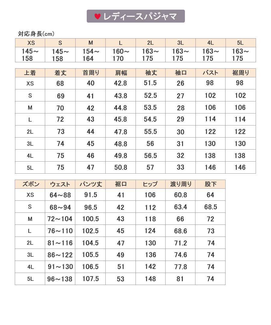 レディース渡り周りサイズ表