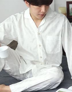 ブロックチェックサテン開襟メンズパジャマ