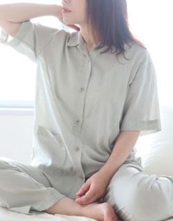 夏のかるふわ涼しい1重ガーゼ半袖長ズボンパジャマ上下セット