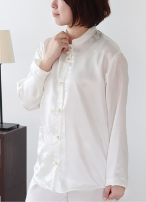 川俣シルクサテンレディースパジャマ