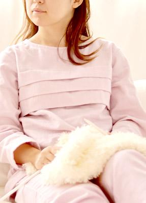 3重ガーゼレディース胸タックパジャマ