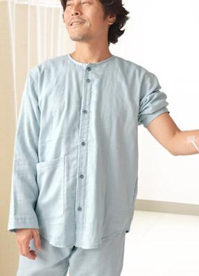 和晒ダブルガーゼ襟なし入院パジャマ